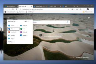Microsoft Edge: Neuer Tab Seite mit Links zu den Office-Weblinks