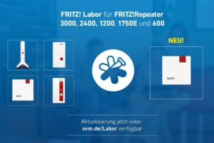 FRITZ!Repeater 3000, 2400, 1750E, 1200 und neu auch 600 mit einem neuen Labor Update