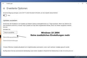 Funktionsupdate und Qualitätsupdate aussetzen wurde entfernt in der Windows 10 2004 [Update]