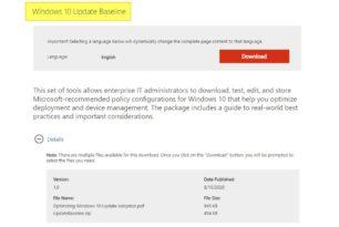 Windows 10 Update Baseline für eine effektivere Verwaltung von Updates