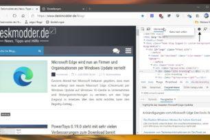 Chrome und Edge Dev Tools: Tabs können  nach unten / oben versetzt werden