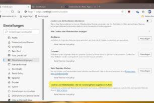 Microsoft Edge mit besserer Übersicht über temporär zugelassene Cookies