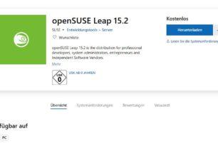 openSUSE Leap 15.2 steht im Microsoft Store zum Download bereit