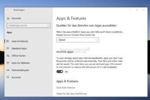 Archivierte Apps in den Windows 10 Einstellungen