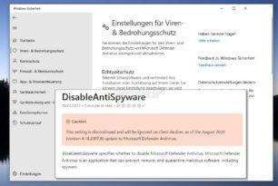 DisableAntiSpyware Eintrag wird vom Microsoft Defender ab August 2020 ignoriert