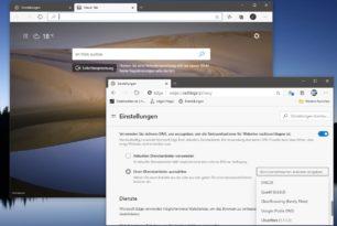 Microsoft Edge mit sicherer DNS und benutzerdefinierten Vorgaben