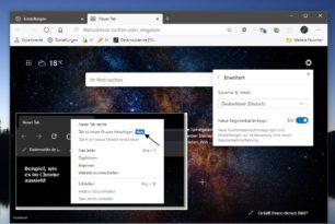 """Microsoft Edge mit weiteren Einstellungen im Menü vom """"Neuer Tab"""""""