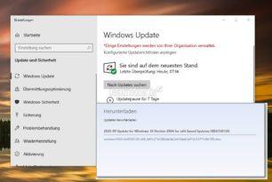 KB4558130 Intel Microcode Update Windows 10 2004 / 20H2 und weitere aktualisierte Updates
