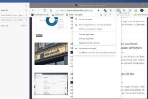 Microsoft Edge Favoriten anheften wird integriert