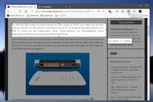 Microsoft Edge Webaufnahme erstellt Screenshot auch von der kompletten Webseite