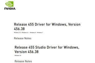 Nvidia GeForce und Studio Treiber 456.38 stehen zum Download bereit