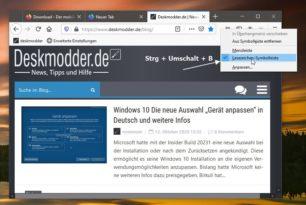 Firefox: Lesezeichen-Symbolleiste per Tastaturkürzel ein- oder ausblenden