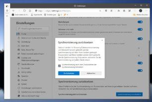 Microsoft Edge Synchronisierung zurücksetzen und die Daten vom Server löschen