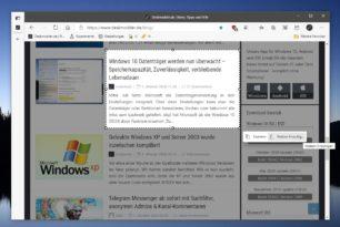 Microsoft Edge Webaufnahme jetzt auch mit Notizen