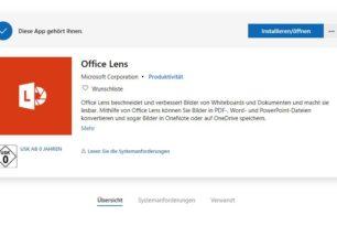 Office Lens für Windows 10 wird zum 1.1.2021 aus dem Microsoft Store entfernt
