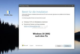 Windows 10 20H2 Inplace Upgrade Fix [Download] solange ein Inplace nicht funktioniert [Update]