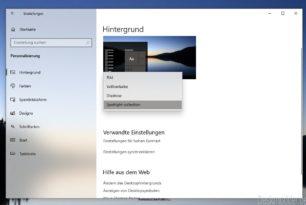 Windows-Blickpunkt ist in den Einstellungen auch für den Hintergrund (Wallpaper) verfügbar Windows 10 20231