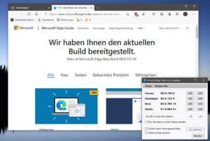 Microsoft Edge 88.0.705.18 im Beta Kanal –  Sprung zur Version 88