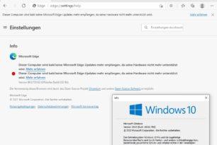 Microsoft Edge ohne weitere Updates, da die Hardware nicht mehr unterstützt wird [Update]