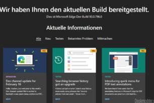 Microsoft Edge 90.0.796.0 im Dev-Kanal mit neuen Funktionen erschienen