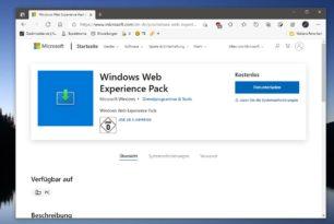 Windows Web Experience Pack im Microsoft Store für Windows 10 aufgetaucht