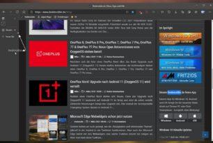 Microsoft Edge: Markierten Text in die vertikale Tableiste ziehen und suchen lassen klappt nun auch