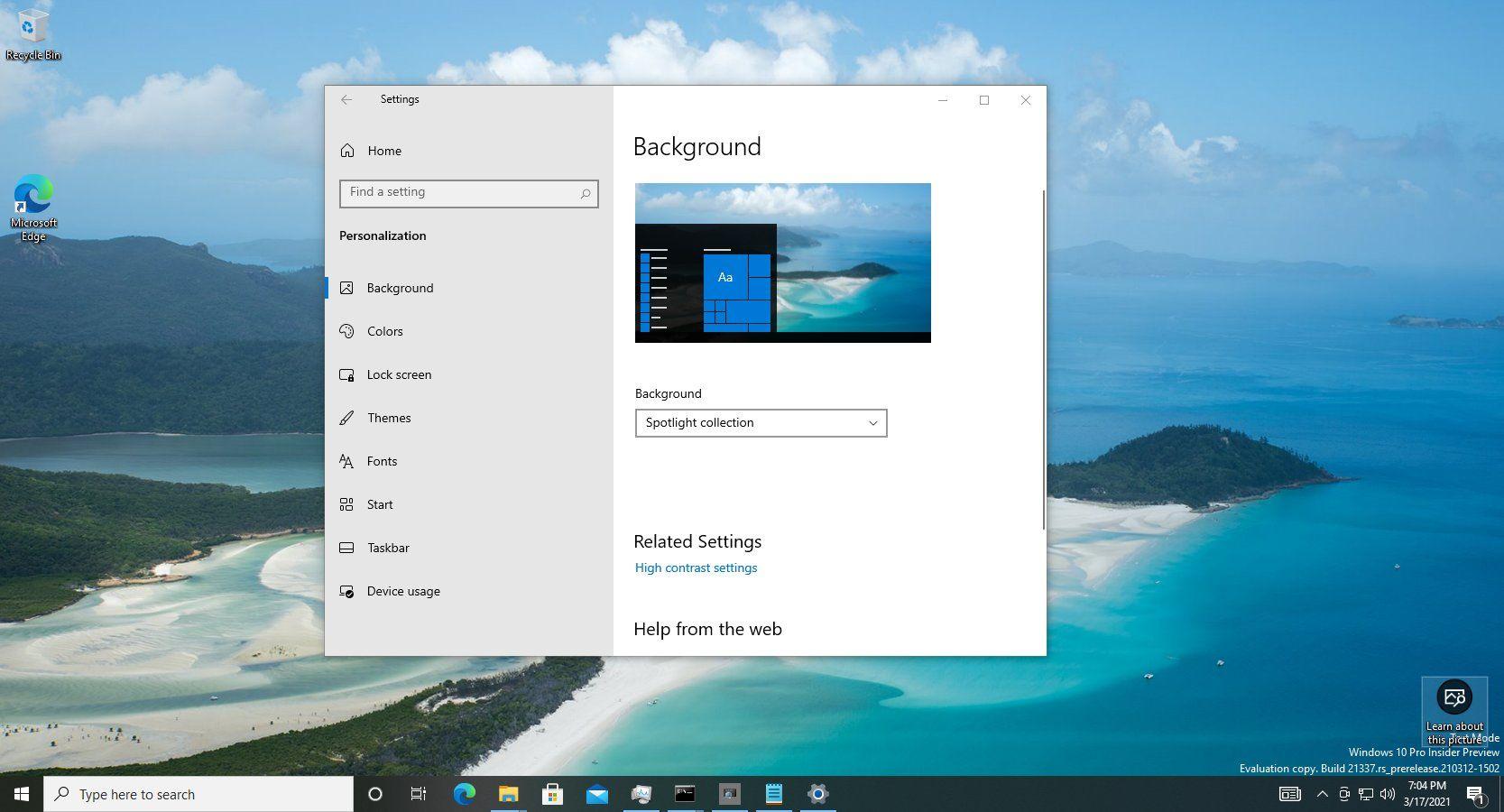 Windows Blickpunkt Hintergrund
