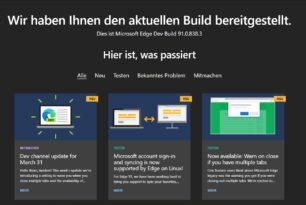 Microsoft Edge 91.0.838.3 im Dev-Kanal wieder mit neuen Funktionen
