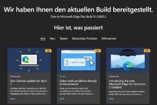 Microsoft Edge 91.0.845.2 ist im Dev-Kanal erschienen