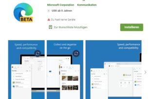 Android: Microsoft Edge Beta nun auch verfügbar