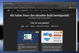 Microsoft Edge Dev nun auch mit der 93er (93.0.910.5) Version unterwegs
