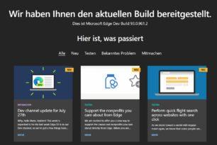Microsoft Edge 93.0.961.2 im Dev-Kanal – Nächstes Update ist dann der Edge 94