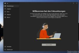 Fokussitzungen in der Windows 11 Uhr App einmal angeschaut