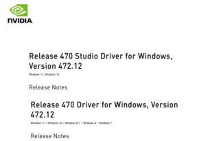 GeForce und Studio 472.12  WHQL Treiber für den offiziell Start von Windows 11 und mehr