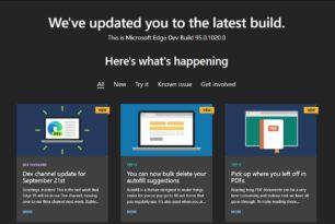 Microsoft Edge 95.0.1020.0 im Dev Kanal wird dann auch in die Beta übernommen