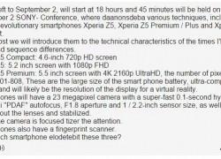 Sony Xperia Z5 Compact, Xperia Z5 und Xperia Z5 Premium/ Plus – Vermeintliche Daten der kommenden Sony Smartphones geleakt